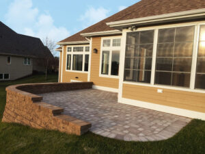 Paver patio with retaining wall from 2015 Parade of Homes