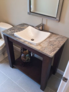 Guest bath with custom vanity from the 2015 Parade of Homes