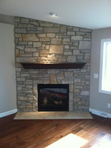 Stone fireplace - the Monroe floor plan - 1707 sq ft