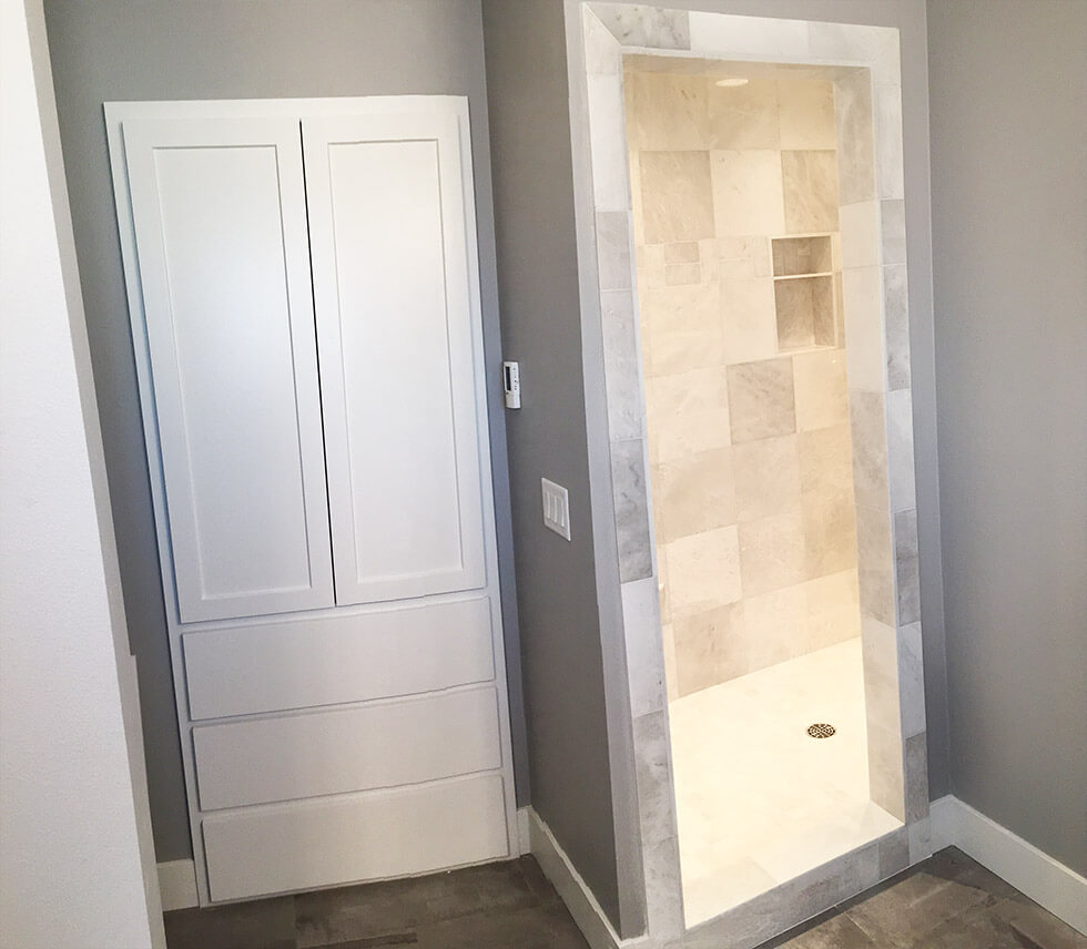 Master shower with custom cabinet - the Roosevelt floor plan - 1937 Sq Ft