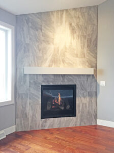 Tile fireplace - the Roosevelt floor plan - 1937 Sq Ft